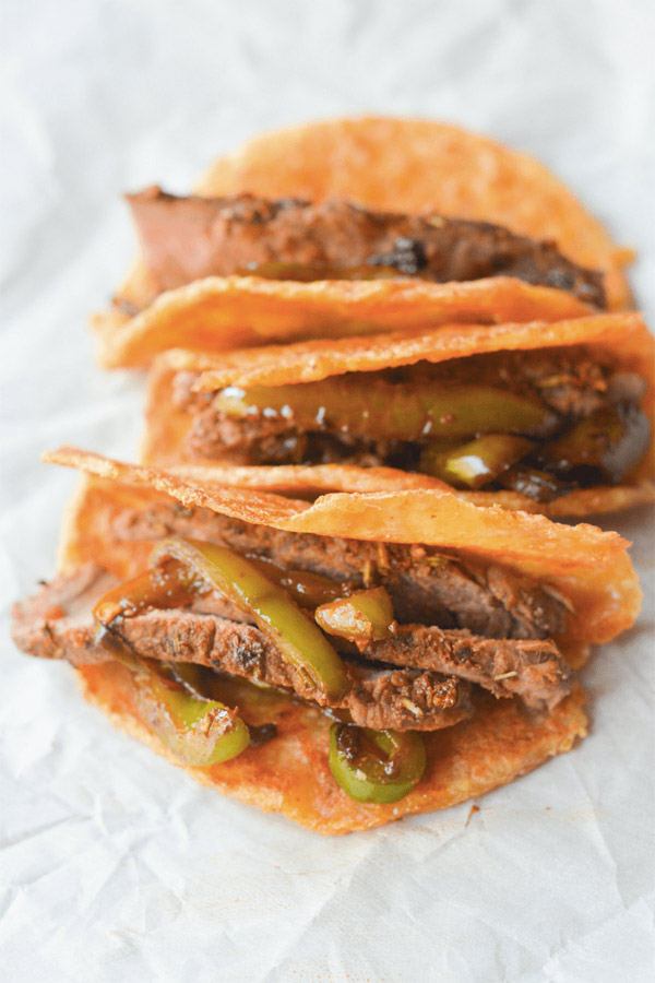Low Carb Snacks Steak Tacos on Pork Rind Tortillas