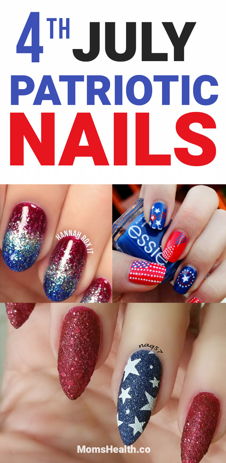 4th of July Patriotic nails. It's almost the time to celebrate the 4th of July – Independence Day.Here are the best patriotic nail ideas for the 4th July I found on different blogs.Gel and acrylic options, photos and images for your inspiration!