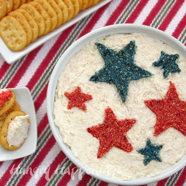 Decorated Dip with Red and Blue Cracker Crumb Stars. 4th of July food ideas. #4thofjuly