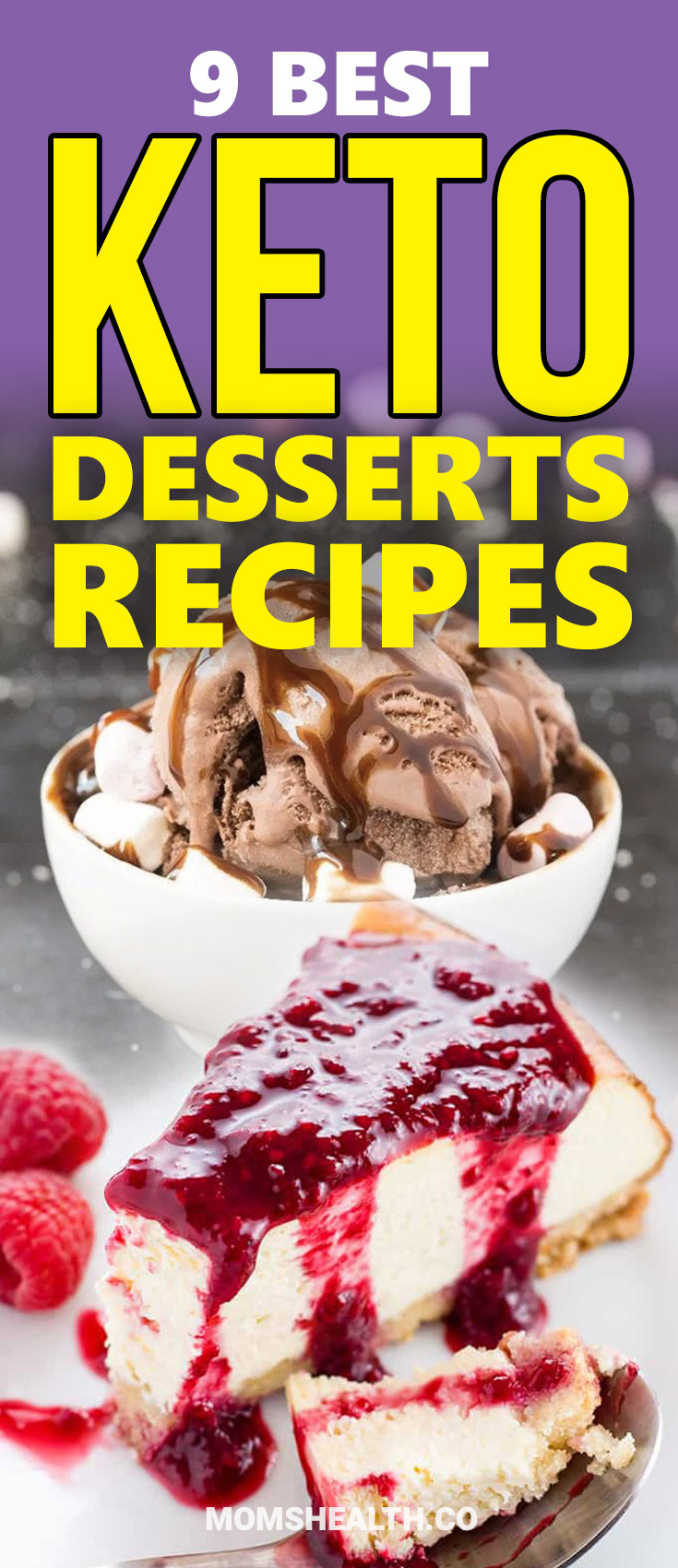 Try these 9 Easy Keto Dessert Recipes and keep your Ketogenic Diet even if you are sweet tooth! All of these healthy Keto Desserts are low carb and will not break your Ketosis. Find here sweet Keto fat Bombs, chocolate, cream cheese, cheesecakes and other low carb pleasures!