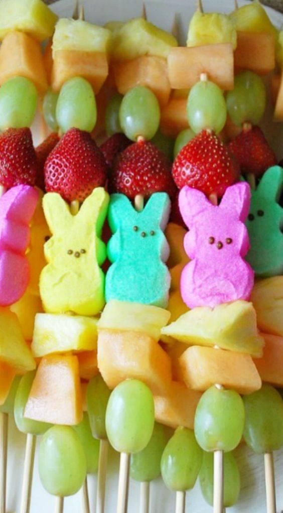 Easter Dessert: Peep Fruit Kabobs