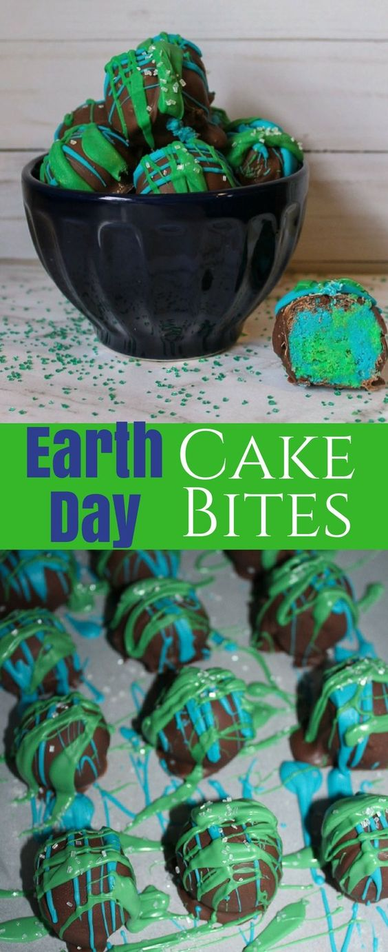 Earth Day Cake Bites
